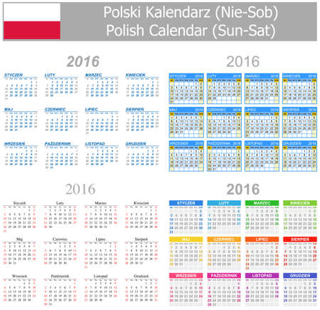 2016 Polish Mix Calendar Sun-Sat on white background