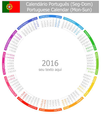 2016 Portuguese Circle Calendar Mon-Sun on white background Banco de Imagens