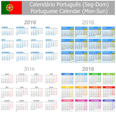 arial: 2016 Portuguese Mix Calendar Mon-Sun on white background