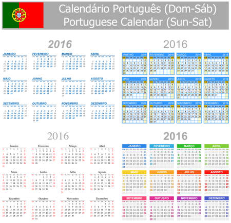 arial: 2016 Portuguese Mix Calendar Sun-Sat on white background Stock Photo