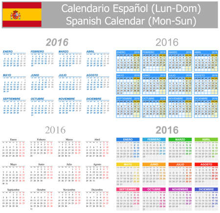 2016 Spanish Mix Calendar Mon-Sun on white background