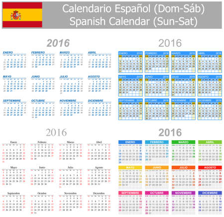 2016 Spanish Mix Calendar Sun-Sat on white background Stock Photo