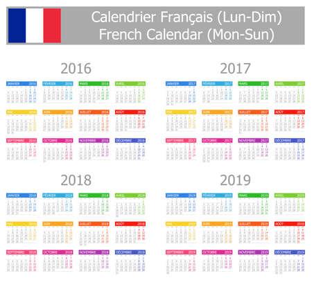 calendrier: 2016-2019 Type-1 French Calendar Mon-Sun on white background Stock Photo