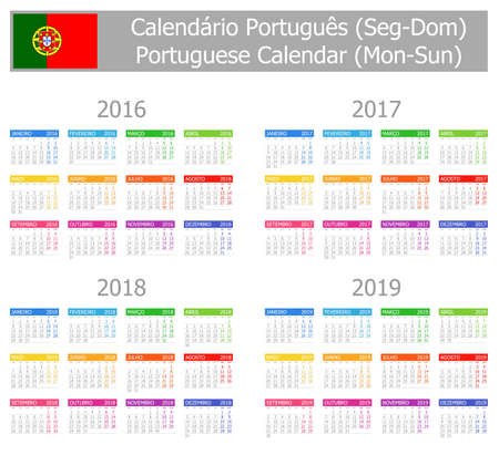 2016-2019 Type-1 Portuguese Calendar Mon-Sun on white background