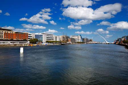 samuel: North bank of the river Liffey at Dublin City Centre with Samuel Beckett Bridge