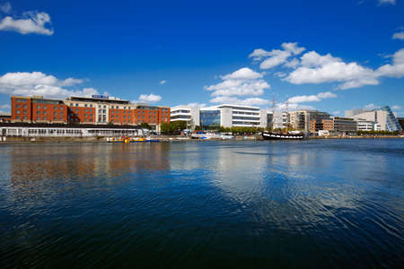 liffey: North bank of the river Liffey at Dublin City Centre on a beautiful day Editorial