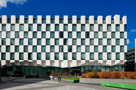 docklands: Modern architecture of Dublin Docklands area on a beautiful day
