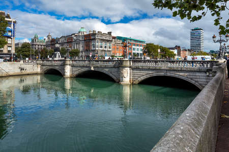 OConnell Bridge over the river Liffey in Dublin City Centre, built between 1791 and 1794, it is 45 meters long and 50 wide