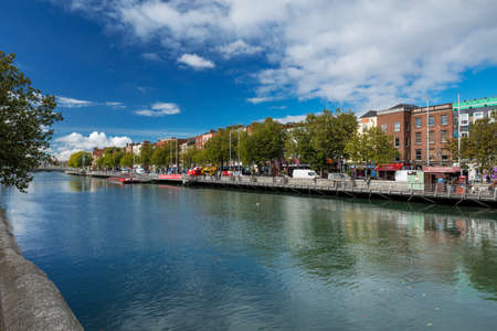 North bank of the river Liffey at Dublin City Centre on a beautiful day Stock Photo