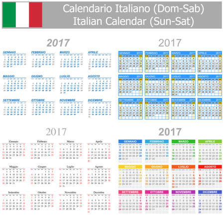 2017 Italian Mix Calendar Sun-Sat on white background Illustration