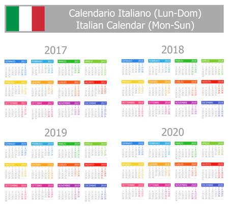 calendrier: 2017-2020 Calendrier Italien Lun-dim sur fond blanc Illustration