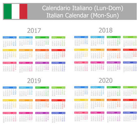 2017-2020 Italian Calendar Mon-Sun on white background