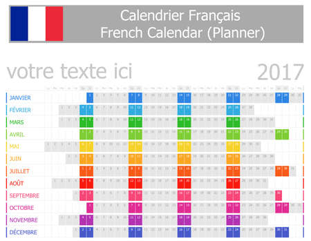 agenda year planner: 2017 French Planner Calendar with Horizontal Months on white background Illustration