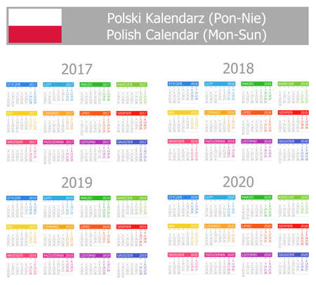agenda year planner: 2017-2020 Polish Type-1 Calendar Mon-Sun on white background