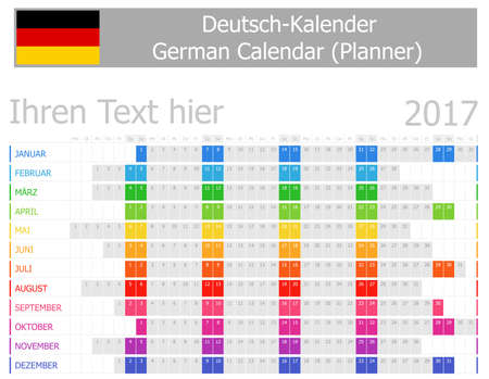 2017 German Planner Calendar with Horizontal Months on white background
