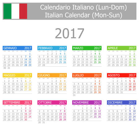 calendario: 2017 Calendario italiano Lu-Do en el fondo blanco Vectores