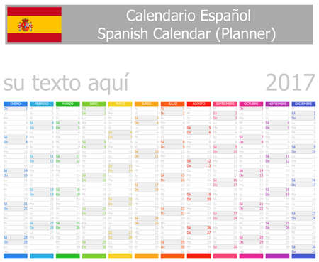 agenda year planner: 2017 Spanish Planner Calendar with Vertical Months on white background