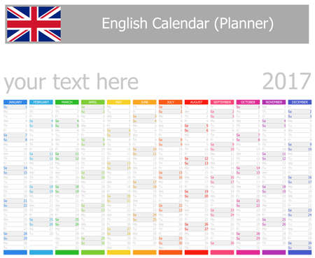 agenda year planner: 2017 English Planner Calendar with Vertical Months on white background
