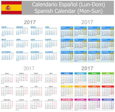 arial: 2017 Spanish Mix Calendar Mon-Sun on white background