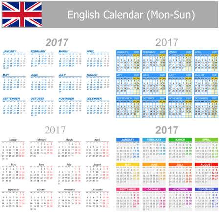 arial: 2017 English Mix Calendar Mon-Sun on white background