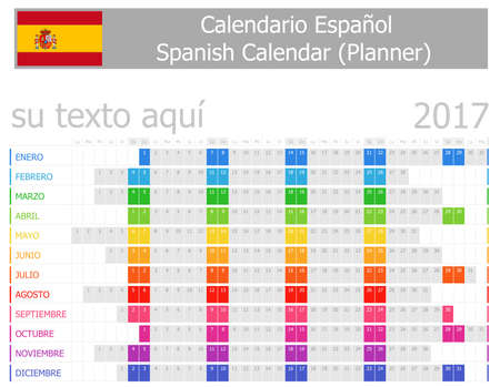2017 Spanish Planner Calendar with Horizontal Months on white background