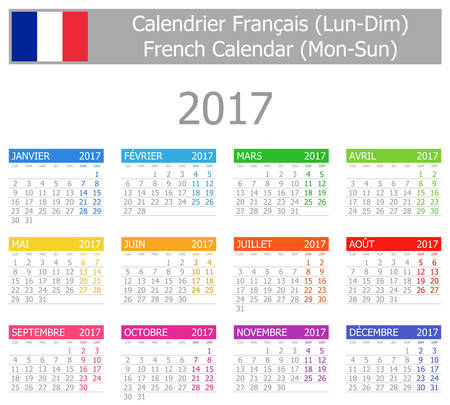 2017 French Calendar Mon-Sun on white background