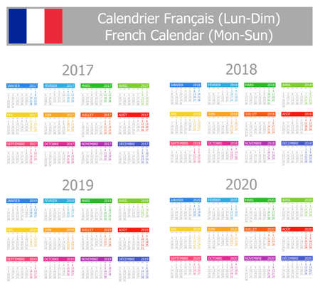 calendrier: 2017-2020 French Calendar Mon-Sun on white background