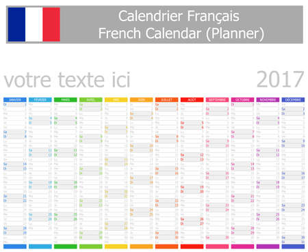 agenda year planner: 2017 French Planner Calendar with Vertical Months on white background