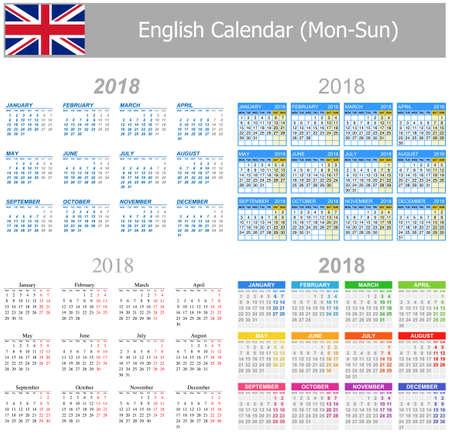arial: 2018 English Mix Calendar Mon-Sun on white background