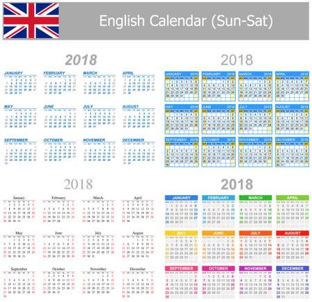 arial: 2018 English Mix Calendar Sun-Sat on white background Illustration