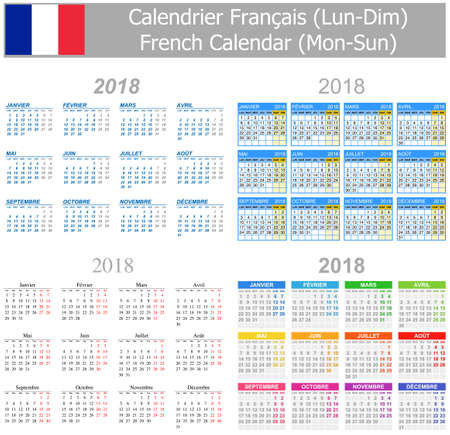 arial: 2018 French Mix Calendar Mon-Sun on white background Illustration