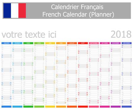 Französischer Planer-Kalender 2018 mit vertikalen Monaten auf weißem Hintergrund Vektorgrafik