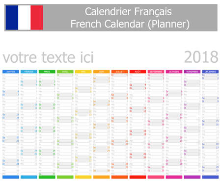 2018 French Planner Calendar with Vertical Months on white background