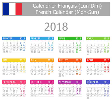 calendrier: 2018 French Type-1 Calendar Mon-Sun on white background