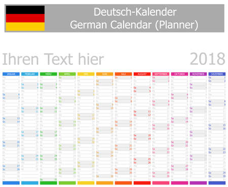 2018 German Planner Calendar with Vertical Months on white background