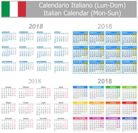 arial: 2018 Italian Mix Calendar Mon-Sun on white background