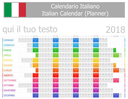 2018 Italian Planner Calendar with Horizontal Months on white background