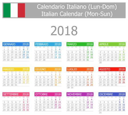 almanac: 2018 Italian Type-1 Calendar Mon-Sun on white background