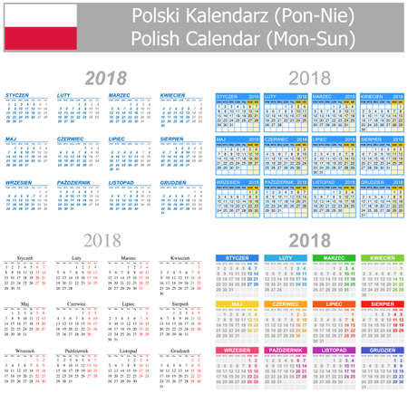 mix: 2018 Polish Mix Calendar Mon-Sun on white background