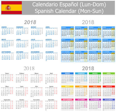 mix: 2018 Spanish Mix Calendar Mon-Sun on white background Illustration