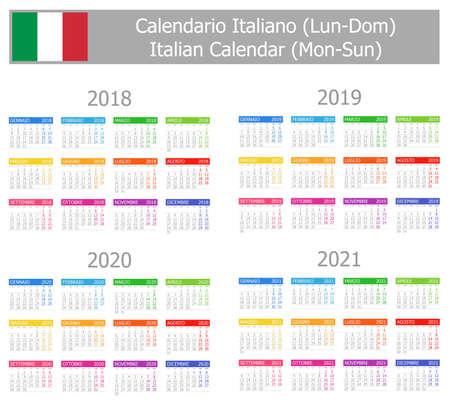 2018-2021年イタリア タイプ 1 カレンダー月曜始まり白地  イラスト・ベクター素材