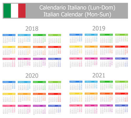 2018-2021 Italian Type-1 Calendar Mon-Sun on white background