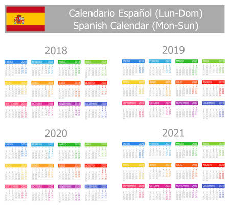 2018-2021 Spanish Type-1 Calendar Mon-Sun on white background Illustration