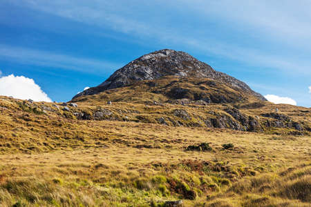 442 m tall Diamond Hill in Connemara National Park, Letterfrack, Co. Galway, Ireland is a popular hiking destination Stock Photo