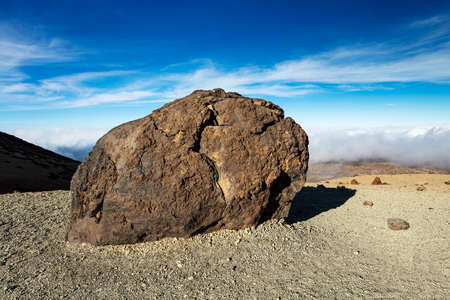 Teide National Park, Tenerife, Canary Islands - A view of Teide Eggs, or in Spanish Huevos del Teide. These accretion balls form as pieces solidified lava roll over a still molten surface.