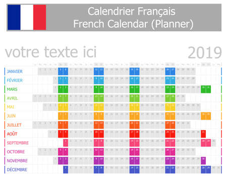 2019 French Planner Calendar with Horizontal Months on white background