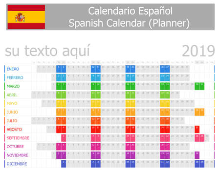 2019 Spanish Planner Calendar with Horizontal Months on white background