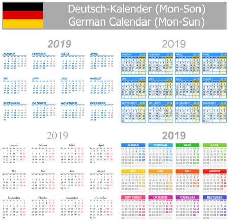 2019 Deutscher Mix Kalender Mo-So auf weißem Hintergrund