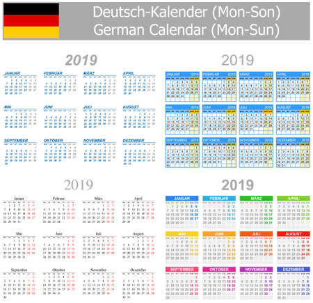 2019 German Mix Calendar Mon-Sun on white background