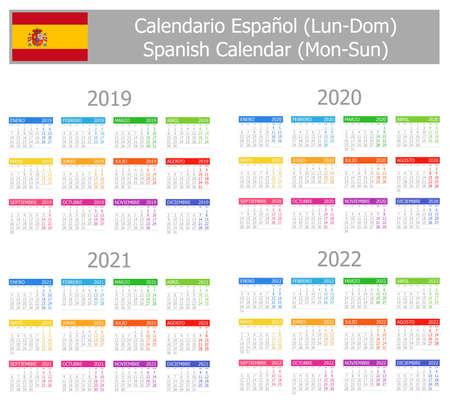 Calendario español tipo 1 2019-2022 de lunes a domingo sobre fondo blanco.